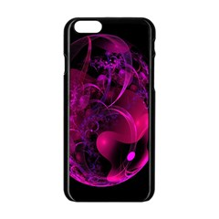 Fractal Using A Script And Coloured In Pink And A Touch Of Blue Apple Iphone 6/6s Black Enamel Case by Simbadda
