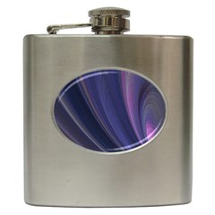 A Pruple Sweeping Fractal Pattern Hip Flask (6 Oz) by Simbadda