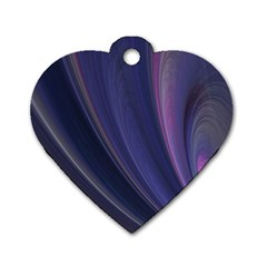 A Pruple Sweeping Fractal Pattern Dog Tag Heart (one Side) by Simbadda
