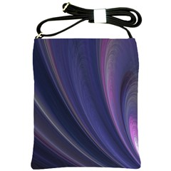 A Pruple Sweeping Fractal Pattern Shoulder Sling Bags by Simbadda