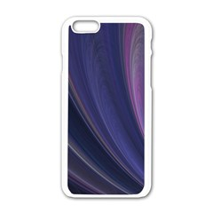A Pruple Sweeping Fractal Pattern Apple Iphone 6/6s White Enamel Case by Simbadda