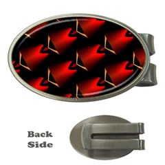 Fractal Background Red And Black Money Clips (oval)