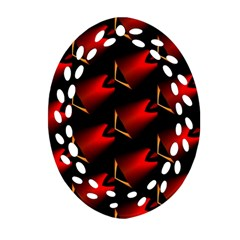 Fractal Background Red And Black Oval Filigree Ornament (two Sides) by Simbadda