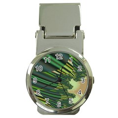 A Feathery Sort Of Green Image Shades Of Green And Cream Fractal Money Clip Watches by Simbadda