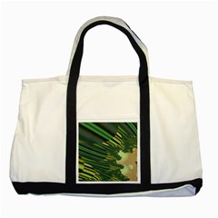 A Feathery Sort Of Green Image Shades Of Green And Cream Fractal Two Tone Tote Bag by Simbadda