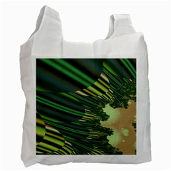 A Feathery Sort Of Green Image Shades Of Green And Cream Fractal Recycle Bag (two Side)  by Simbadda