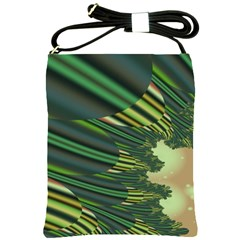 A Feathery Sort Of Green Image Shades Of Green And Cream Fractal Shoulder Sling Bags by Simbadda