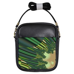 A Feathery Sort Of Green Image Shades Of Green And Cream Fractal Girls Sling Bags by Simbadda