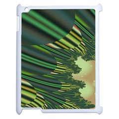 A Feathery Sort Of Green Image Shades Of Green And Cream Fractal Apple Ipad 2 Case (white) by Simbadda