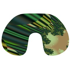 A Feathery Sort Of Green Image Shades Of Green And Cream Fractal Travel Neck Pillows