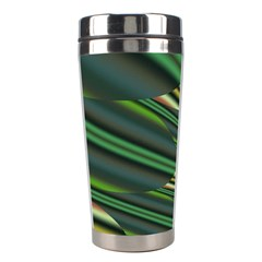 A Feathery Sort Of Green Image Shades Of Green And Cream Fractal Stainless Steel Travel Tumblers by Simbadda