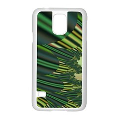 A Feathery Sort Of Green Image Shades Of Green And Cream Fractal Samsung Galaxy S5 Case (white) by Simbadda