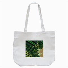 A Feathery Sort Of Green Image Shades Of Green And Cream Fractal Tote Bag (white) by Simbadda