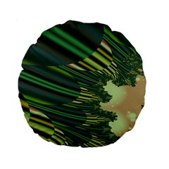 A Feathery Sort Of Green Image Shades Of Green And Cream Fractal Standard 15  Premium Flano Round Cushions by Simbadda