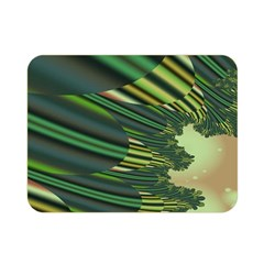A Feathery Sort Of Green Image Shades Of Green And Cream Fractal Double Sided Flano Blanket (mini)  by Simbadda