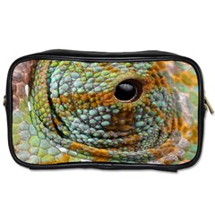 Macro Of The Eye Of A Chameleon Toiletries Bags by Simbadda