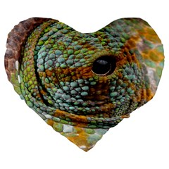 Macro Of The Eye Of A Chameleon Large 19  Premium Heart Shape Cushions by Simbadda