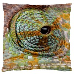 Macro Of The Eye Of A Chameleon Large Flano Cushion Case (one Side) by Simbadda