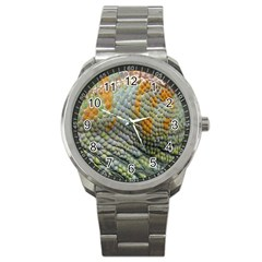 Macro Of Chameleon Skin Texture Background Sport Metal Watch by Simbadda