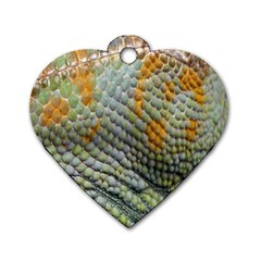 Macro Of Chameleon Skin Texture Background Dog Tag Heart (one Side) by Simbadda