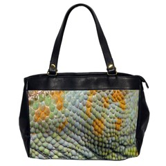 Macro Of Chameleon Skin Texture Background Office Handbags (2 Sides)  by Simbadda