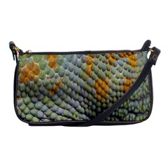 Macro Of Chameleon Skin Texture Background Shoulder Clutch Bags by Simbadda