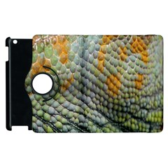Macro Of Chameleon Skin Texture Background Apple Ipad 2 Flip 360 Case by Simbadda
