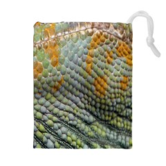Macro Of Chameleon Skin Texture Background Drawstring Pouches (extra Large) by Simbadda