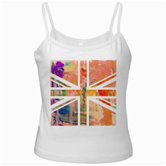 Union Jack Abstract Watercolour Painting White Spaghetti Tank