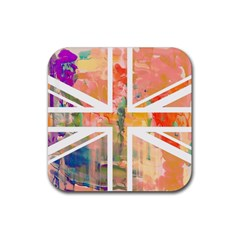 Union Jack Abstract Watercolour Painting Rubber Coaster (square)
