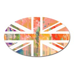 Union Jack Abstract Watercolour Painting Oval Magnet