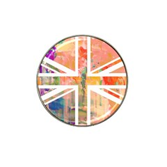 Union Jack Abstract Watercolour Painting Hat Clip Ball Marker (4 Pack) by Simbadda