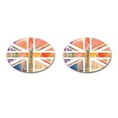 Union Jack Abstract Watercolour Painting Cufflinks (oval) by Simbadda
