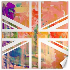 Union Jack Abstract Watercolour Painting Canvas 16  X 16   by Simbadda