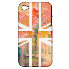 Union Jack Abstract Watercolour Painting Apple Iphone 4/4s Hardshell Case (pc+silicone) by Simbadda