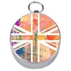 Union Jack Abstract Watercolour Painting Silver Compasses