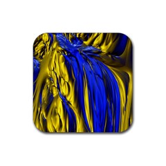 Blue And Gold Fractal Lava Rubber Coaster (square)  by Simbadda
