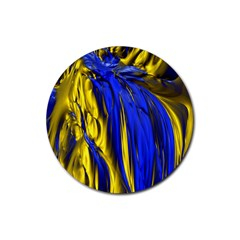 Blue And Gold Fractal Lava Rubber Coaster (round)  by Simbadda