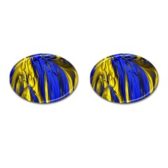Blue And Gold Fractal Lava Cufflinks (oval) by Simbadda