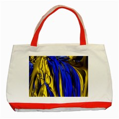 Blue And Gold Fractal Lava Classic Tote Bag (red)