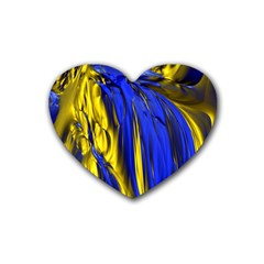 Blue And Gold Fractal Lava Rubber Coaster (heart)  by Simbadda