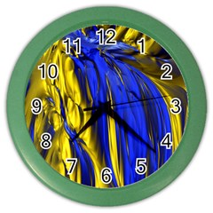 Blue And Gold Fractal Lava Color Wall Clocks by Simbadda