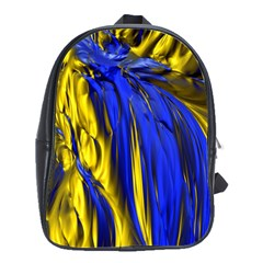 Blue And Gold Fractal Lava School Bags(large)  by Simbadda