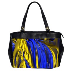 Blue And Gold Fractal Lava Office Handbags (2 Sides)