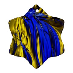 Blue And Gold Fractal Lava Ornament (snowflake)