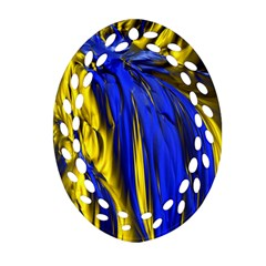 Blue And Gold Fractal Lava Oval Filigree Ornament (two Sides) by Simbadda