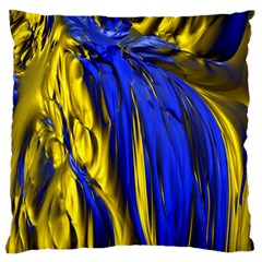 Blue And Gold Fractal Lava Large Cushion Case (two Sides) by Simbadda