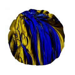 Blue And Gold Fractal Lava Standard 15  Premium Round Cushions by Simbadda