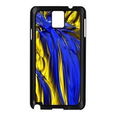 Blue And Gold Fractal Lava Samsung Galaxy Note 3 N9005 Case (black) by Simbadda