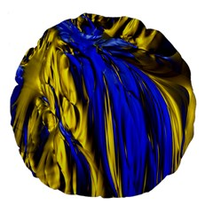 Blue And Gold Fractal Lava Large 18  Premium Flano Round Cushions by Simbadda